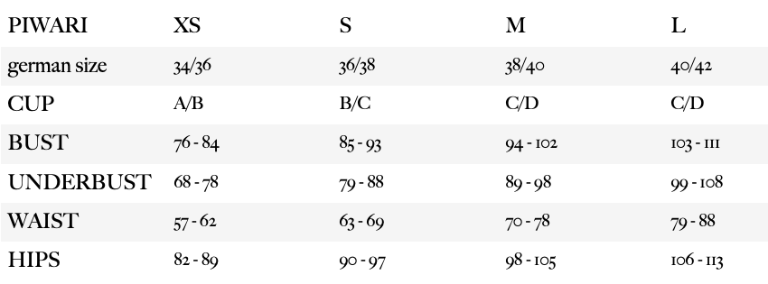 Piwari's Size Chart